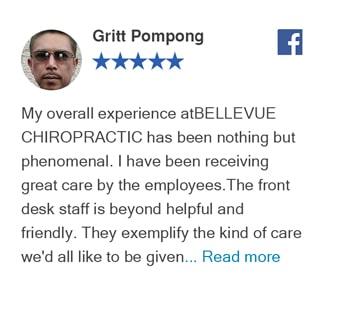 Gritt Pompong Facebook review for Bellevue Chiropractic Clinic